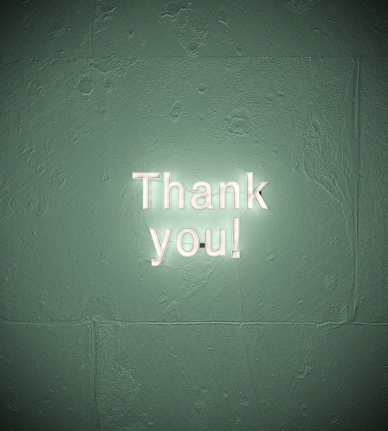 A neon thank you sign.