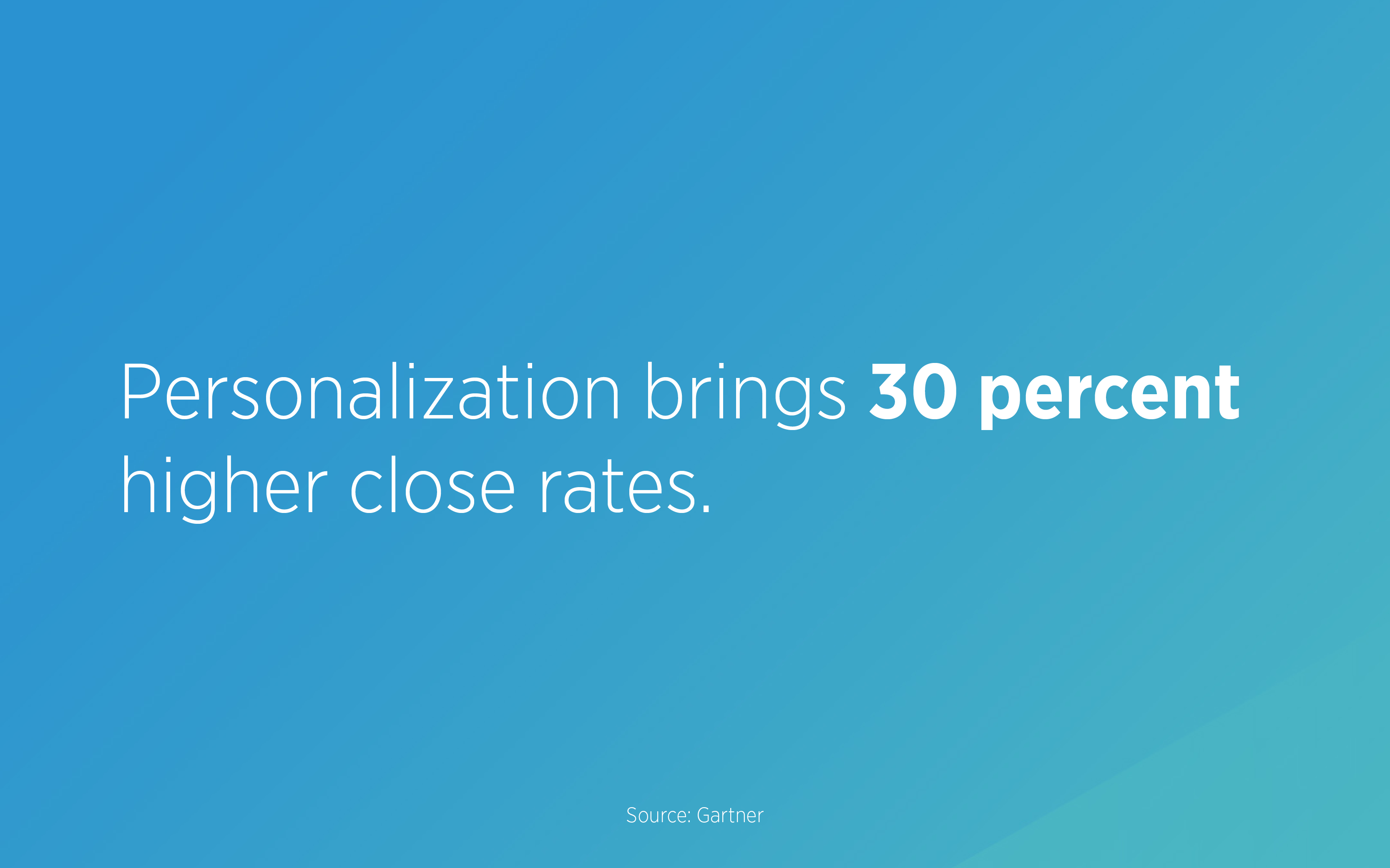 Personalization brings 30 percent higher close rates. Personalizing messages has a real impact on revenue.
